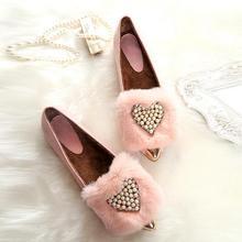 Valentine's Day Gift PU Leather Woman Winter Thermal Rabbit Fur Flats Plus Velvet Luxury Rhinestone Pearl Flat Shoes 35-44