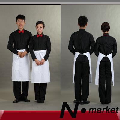 New arrival free shipping white half apron chef cotton pure apron for restaurant kichen apron women(China (Mainland))