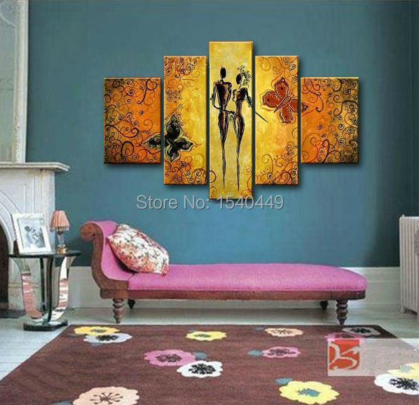 store product Free shipping handmade modern abstract Butter fly lover story canvas oil painting for living room
