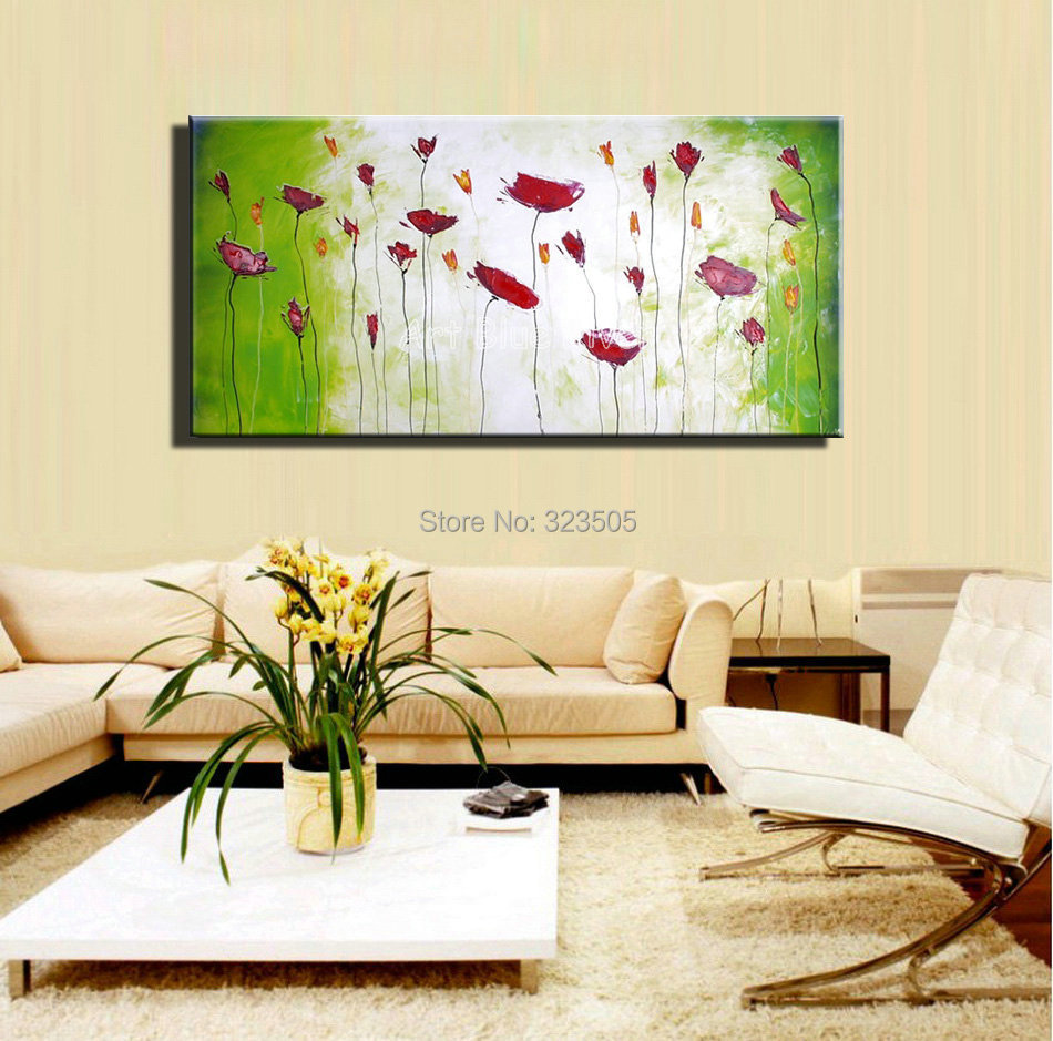 Large decorative cheap wall art abstract poppy green for Large colorful wall art
