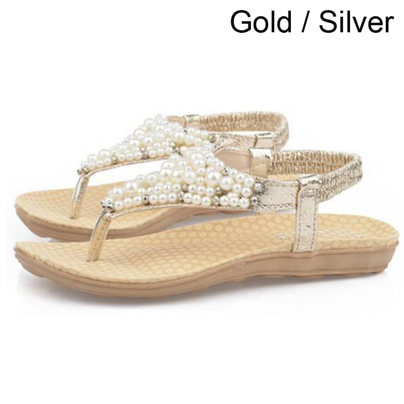 2016 Gladiator Sandals for Women pearl Bohemia Beaded Summer Flower Flat Heels Flip Flops Womens Shoes Tstraps Sandals<br><br>Aliexpress