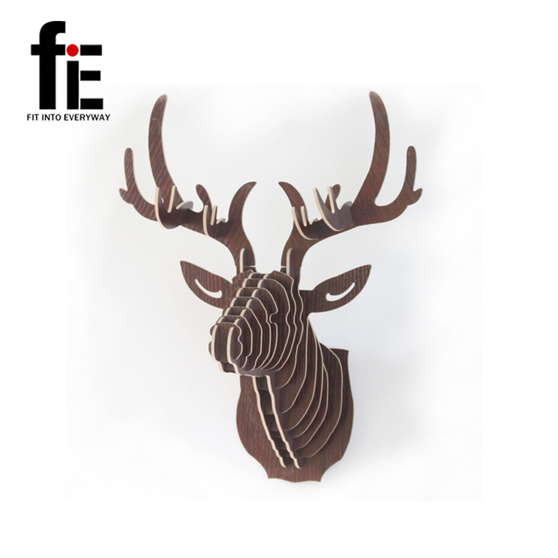 Free shipping 3D Puzzle Wooden DIY Model Wall Hanging deer Head elk deer head wood gift craft Home decoration Animal Wildlife(China (Mainland))