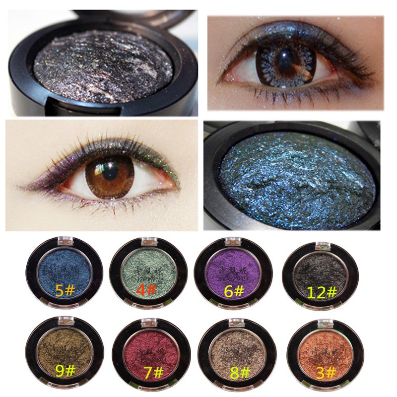 Brand Makeup 12 Color Red Gold Waterproof Long-lasting Shining Glitter Baked Single Eye Shadow Powder Pigment Palette sombra(China (Mainland))