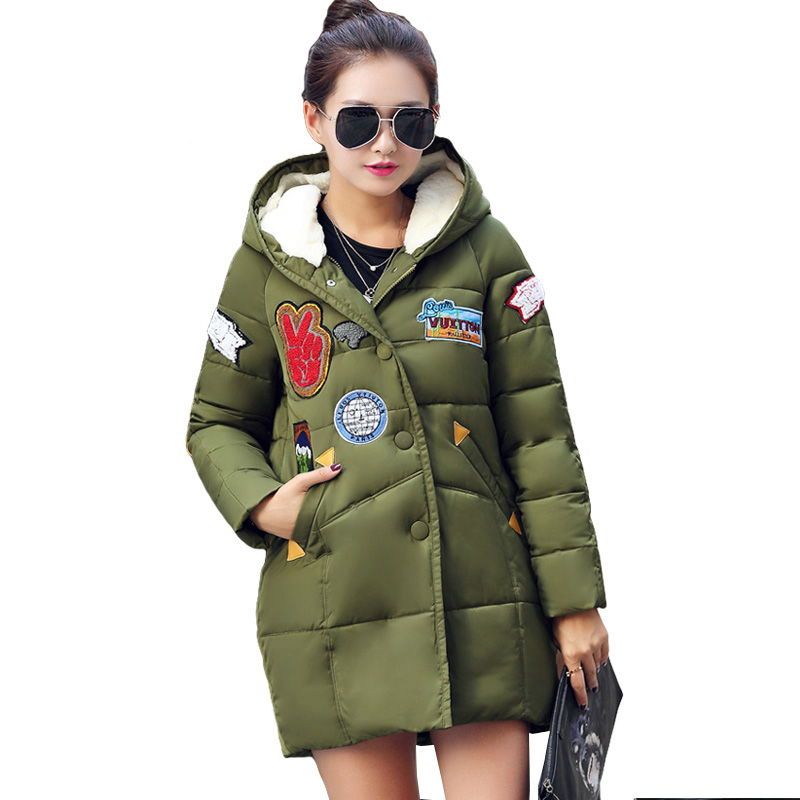 NEW 2016 Winter Coat Women Fashion Long Down Hooded Coat Loose Casual Warm Parka European Style Plus Size M-3XL(China (Mainland))