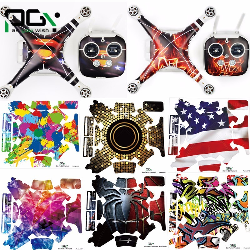 PGY DJI phantom 3 accessories phantom3 stickers 3M Graphic Wrap Skin skins decals Quadcopter drone parts