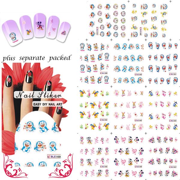 New Arrival! 90SHEET/LOT Doraemon & Mickey Cartoon  Nail Art  sticker Design Nail stickers/ water transfer Nail art  wholesale