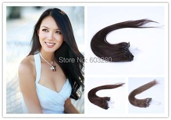 Через Плечо Длина 22 дюймов Сексуальная Формула Волос #33 Темно Каштановые Micro Loop 100% Человеческих Волос Толщиной хвост 1 г/strand