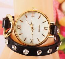 2015 nueva moda de nueva Hawaii Casual y el amor de joyería relojes mujeres RhinestoneChain reloj de cuarzo de cuero
