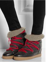 Tendencia de la moda Nowles Botines Mujeres Botas de piel de Oveja Botines Lace Up Invierno de Las Mujeres Aumento de la Altura Botas de Piel de Nieve Zapatos de Mujer(China (Mainland))