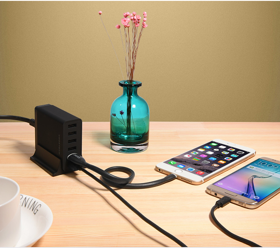 [Multi USB Charger]CHOE 50W USB Charging Station with Charger for iPhone 6s/Galaxy S7/S7 Edge/Xiaomi Mi 5/HTC 10 Phone Charger