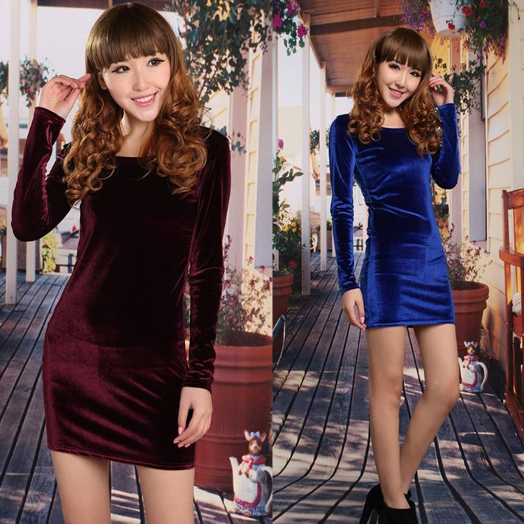 Factory Direct 2015 spring and autumn new arrical Women Dress O neck full sleeve solid clothing velvet casual mini dresses 1014(China (Mainland))