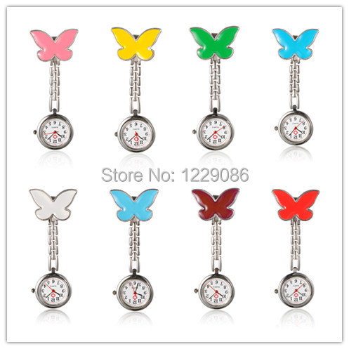 Butterfly Alloy Nurse Watches Pendant Pocket Watches with Alloy Enamel Watch Band and Iron Clips Platinum White/Red/Green/Yellow(China (Mainland))