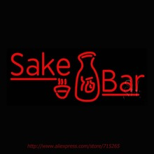 Red Sake Bar With Bottle Neon Sign Neon Bulbs Led Signs Real Glass Tube Recreation Room Restaurant Store Display Beer Pub 30×12