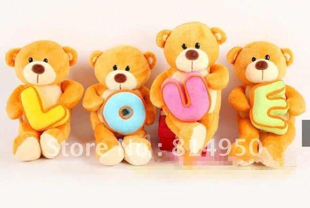 4 pieces/lot,Plush toys, 30cm love letter bears, lovers bears, teddy bear kid doll