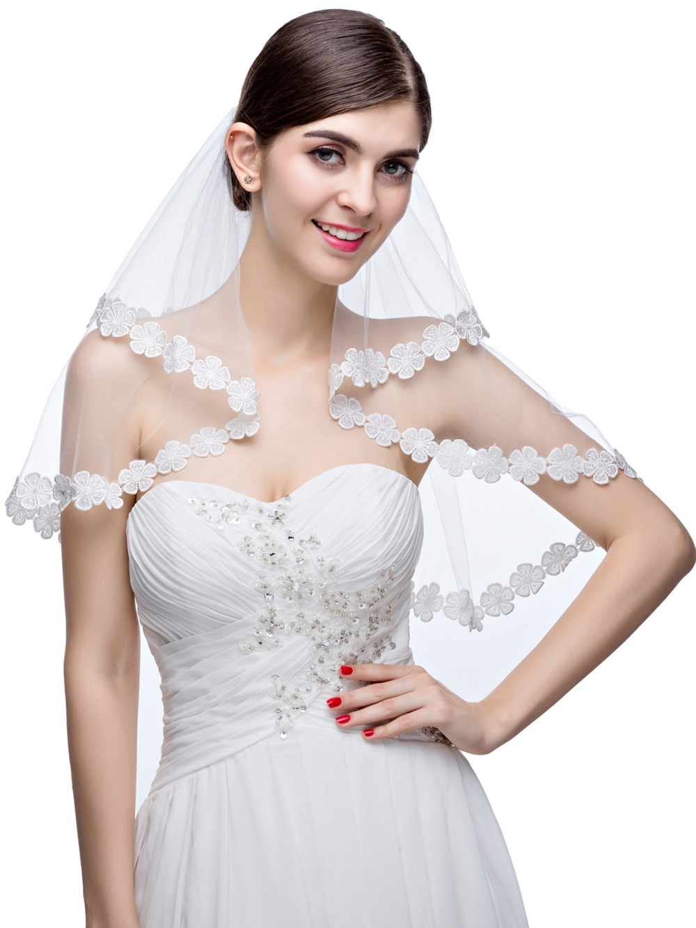 New Arrival In Stock White And Ivory Lace Two-Layer Tulle Wedding Bridal Veil Wedding Accessories Hot Sale(China (Mainland))