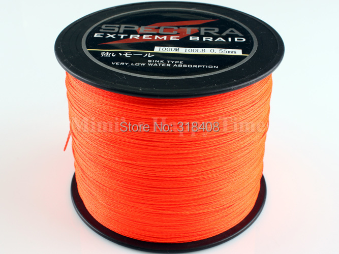 Free shipping! PE Dyneema Braided Fishing Line 4 strands Orange 500M 0.36mm 50LB high quality spectra braided fishing line(China (Mainland))