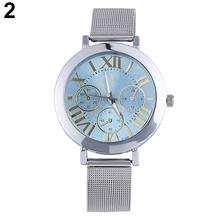 Popular Colorful Dial Women's Men's Roman Numerals Analog Quartz Silver Tone Mesh Band Wrist Watch NO181 5VBB W2E8D
