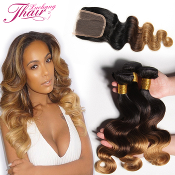 8A Malaysian Virgin Hair With Closure Malaysian Body Wave With Closure Ombre 3 Bundles Blonde Human Hair Weave With Lace Closure