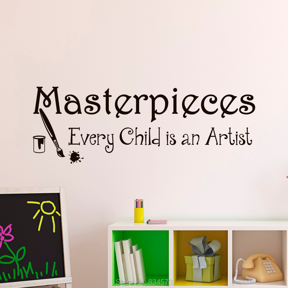 Masterpieces Every Child Is An Artist Wall Art Sticker Decal Home DIY Decoration Decor Wall Mural Removable Room Decal Sticker()