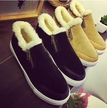 2015 Mujeres de Invierno Cálido Terciopelo de Plataforma Pisos Femeninos Nieve botas de Cremallera Lateral Zapatos sapatilhas femininos Mujer Botas(China (Mainland))