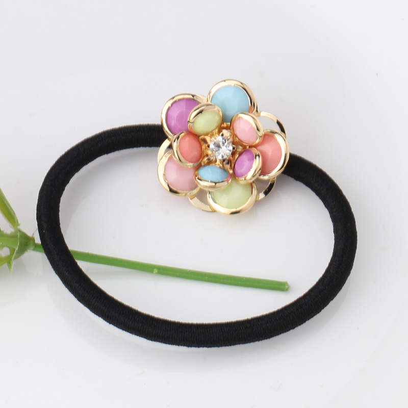 Elastics Flower Hair Rope Hair Holder crystal solid Flora Scrunchy Girls Hair Accessories Ponytail Elastic Hair Band