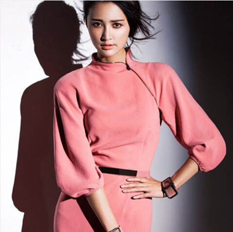 Fashion Women Office Dress Vestiti Pink Ladies Dresses