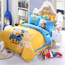 BD121-2 Cotton cartoon 4pcs&3Pcs set cotton bed single bedding 3D Minions children's bedding set promotion(China (Mainland))