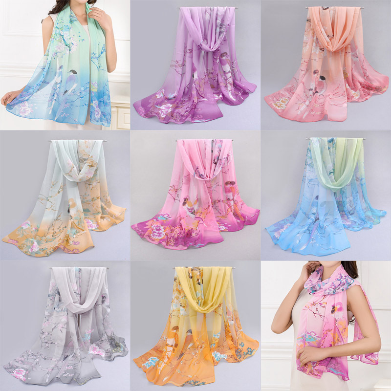Thin Chiffon Scarf Birds And Flowers Summer Beach Shawl Sexy Soft Wraps Scarves(China (Mainland))