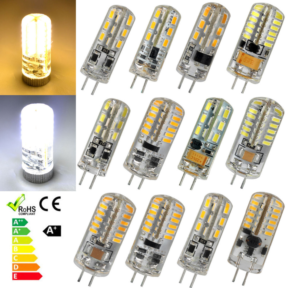4PCS G4 3014 SMD LED Crystal Corn Bulbs Silicone Lamp Cool ...