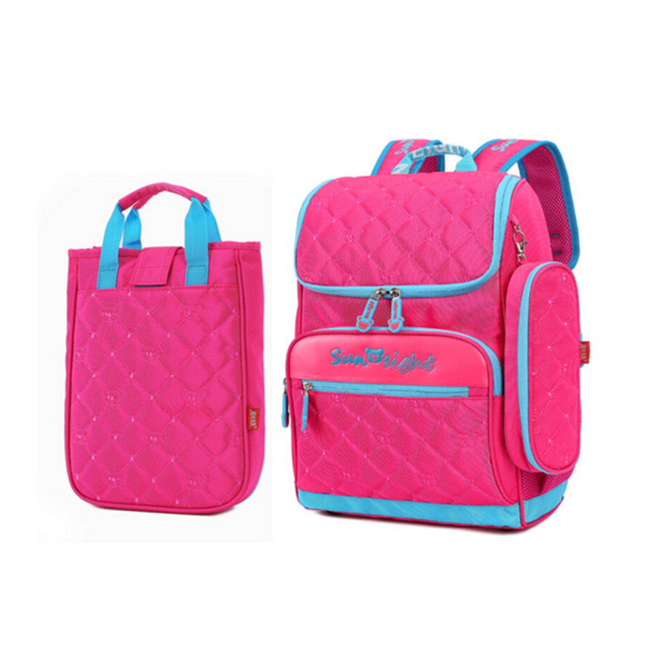 da5966f76b81 girl school bag set lunch box case Korean style elementary school backpack  hot pink cute pencil case fashion bookbag for kids