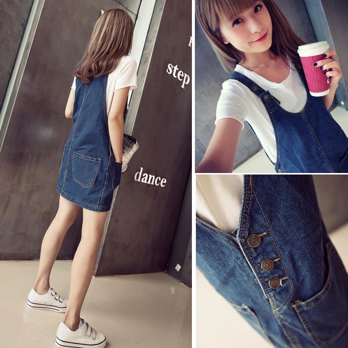 New spring summer 2015 Korea loose dresses slim wave Pocket jeans overalls denim vest(China (Mainland))