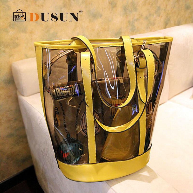 2015 Summer beach bag Famous brand exquisite Fashion PU leather Women bag Transparent Shoulder handbag Ladies Tote bags(China (Mainland))