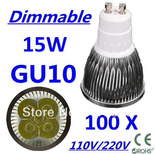 100pcs/lot CREE Dimmable LED High power GU10 5x3W 15W led Light led Lamp led Downlight led bulb spotlight Free FEDEX and DHL
