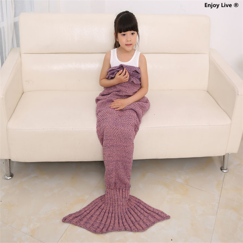 20pcs Children Kids Mermaid Tail Knitting Blanket Creative Sofa Bed Air Conditioning Blankets Fashion Wool Knitted Sleeping Bag(China (Mainland))