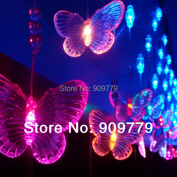 Luminaria Cortina De 60 LED Curtain Chandelier Luminarias Decor Navidad Lamp 3 M Lustre Butterfly Pendant String Lights Lighting(China (Mainland))