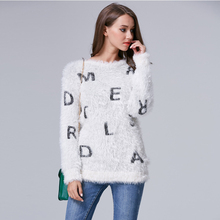 2016 New Autumn And Winter Women Pullover Knitted Sweater O-Neck Rough yarn Letter Sweater coat Sexy(China (Mainland))