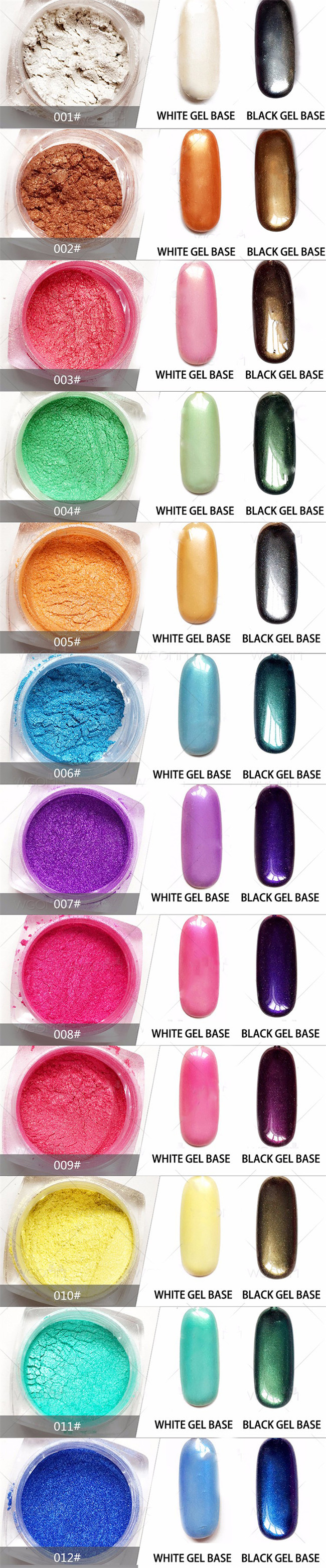 2g 1 Box Colorful Mirror Nail Glitter Powder Gorgeous Candy Color Nail Art Chrome Pigment Nailart Glitters Free Shipping