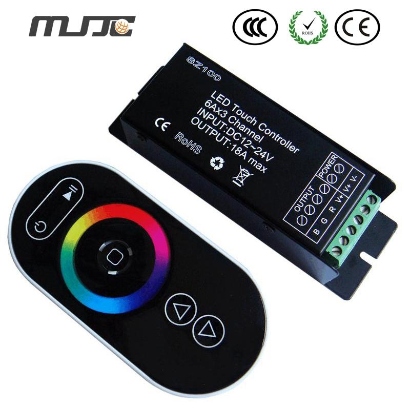 MJJC 1PCS RF Touch RGB LED Controller 12Volt 24Volt 18A  For Constant Voltage 5050 RGB LED Strip Lights<br><br>Aliexpress