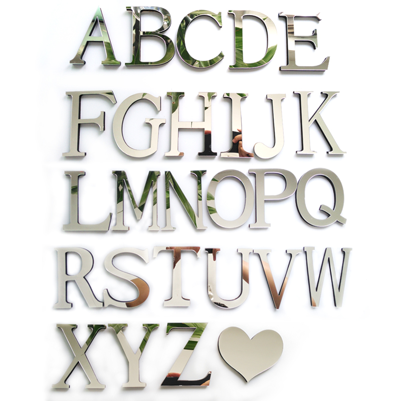 2015 new acrylic sticker love characters letters home decoration english 3d mirror wall stickers alphabet logo free shipping(China (Mainland))
