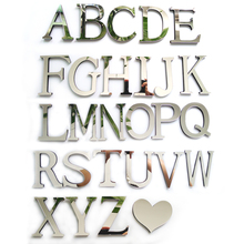 2016 new acrylic sticker love characters letters home decoration english 3d mirror wall stickers alphabet logo free shipping