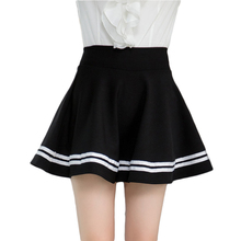 Black high waisted A-line striped skirts for womens short elastic winter circle skirts ladies spring flared pleated skirts femme
