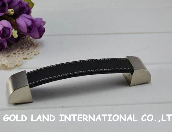 128mm sand nickel color zinc alloy black leather drawer knob bedside cabinet pull wardrobe dresser handle(China (Mainland))