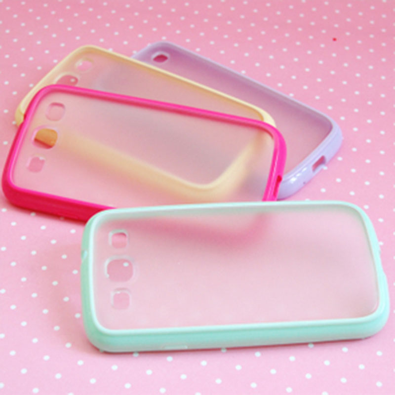 Candy Color Hybrid TPU Frame with Matte plastic back cover Case for Samsung Galaxy S3 jelly capa para fundas capinhas(China (Mainland))