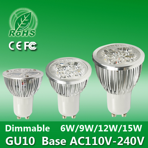 Super Quality 6W 9W 12W 15W 110V-240V Gu10 E27 MR16 Dimmable LED Spotlight Lamp Warm Cool White LED Light Bulb CE Rohs FCC(China (Mainland))