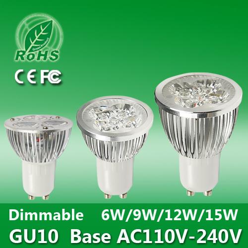 Super Quality 6W 9W 12W 15W DC 12V 110V-240V Gu10 E27 MR16 Dimmable LED Spotlight Lamp Warm Cool White LED Light Bulb CE Rohs (China (Mainland))