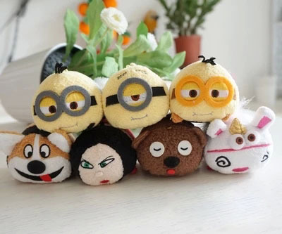 Retail TSUM TSUM Mini Yellow Minions Doll Plush Toys Unicorn Minions 3D Despicable Me Eyes For