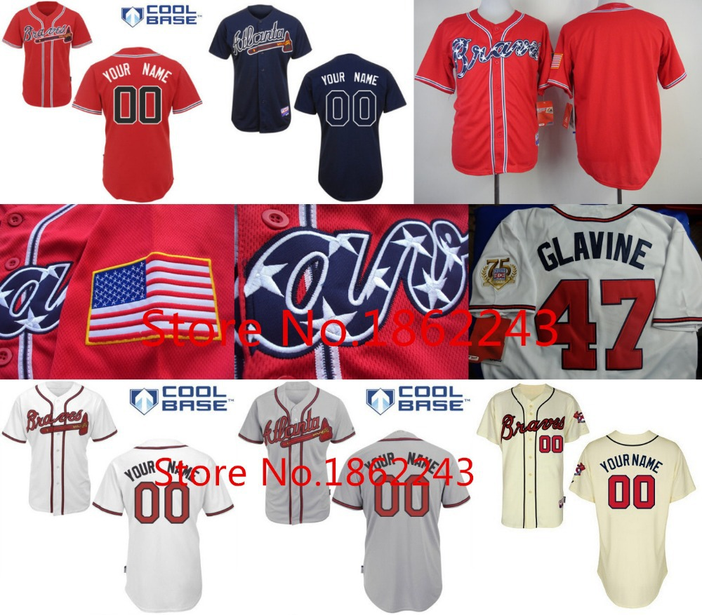 Atlanta Braves Jersey Personalized Custom Baseball Jersey Cool Base Letters Double Stitched Any Name Any Number Top Quality(China (Mainland))