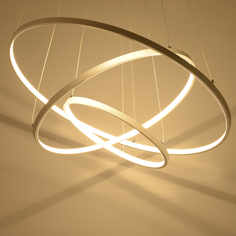 Modern pendant lights for living room dining room 3/2/1 Circle Rings acrylic aluminum body LED Lighting ceiling Lamp fixtures(China (Mainland))
