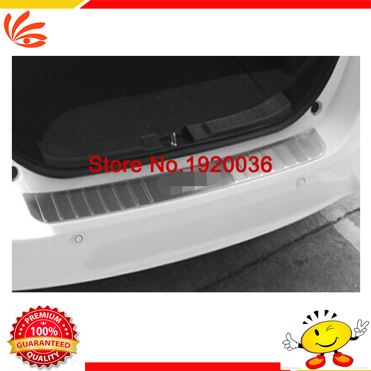 Фотография Car styling Stainless Steel Out Rear Bumper Protector Guard Sill Threshold Plate for FIT 2014 Rear bumper Protector Sill