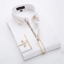 French Style Men's Shirts Long Sleeve Lapel Men Tuxedo Dress Shirts Cotton Business Slim Fit Shirt Black/White Social Shirt(China (Mainland))